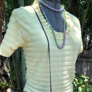 Tops - Butter yellow ruffle stretchy blouse vintage